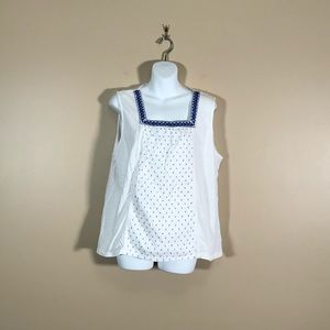 Talbots White and Blue Tank Top